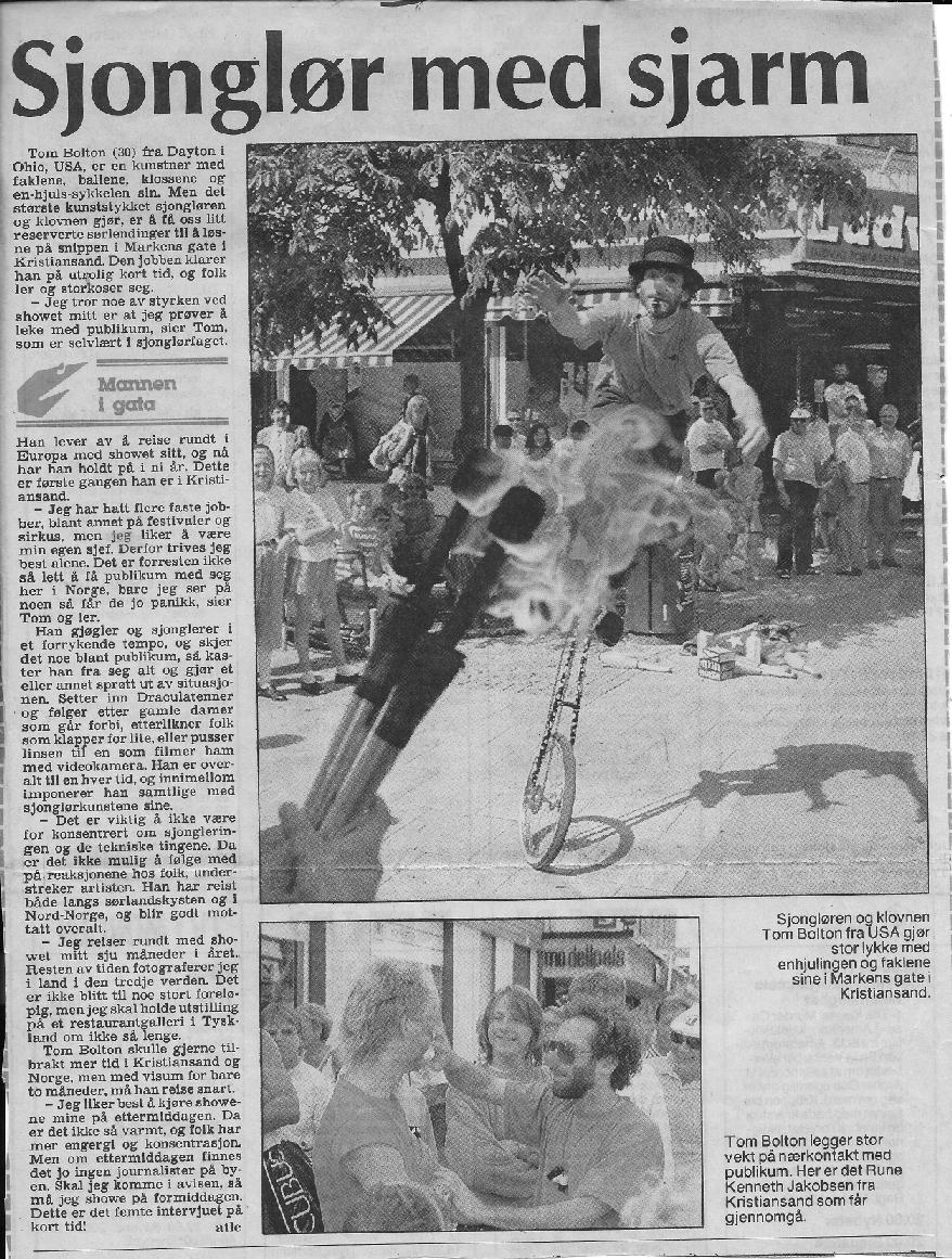 Tom Bolton in Scandinaivian newspaper
